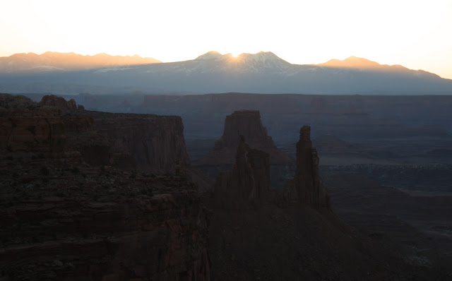 Canyonlands rock towers in the sunrise