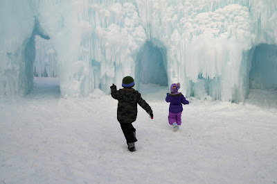 "Running through the ""Maze"" at the Ice Castles in Eden Prairie, Minnesota #IceCastles"