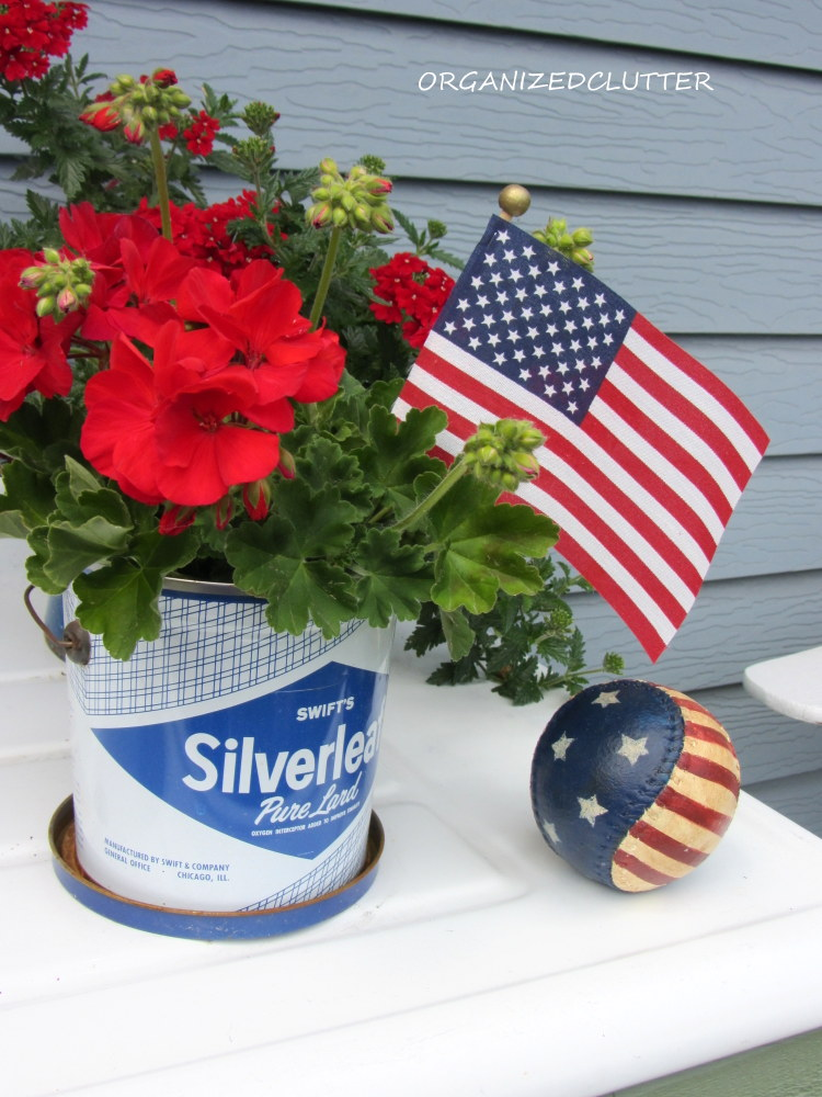 A Red White And Blue Potting Bench Organized Clutter
