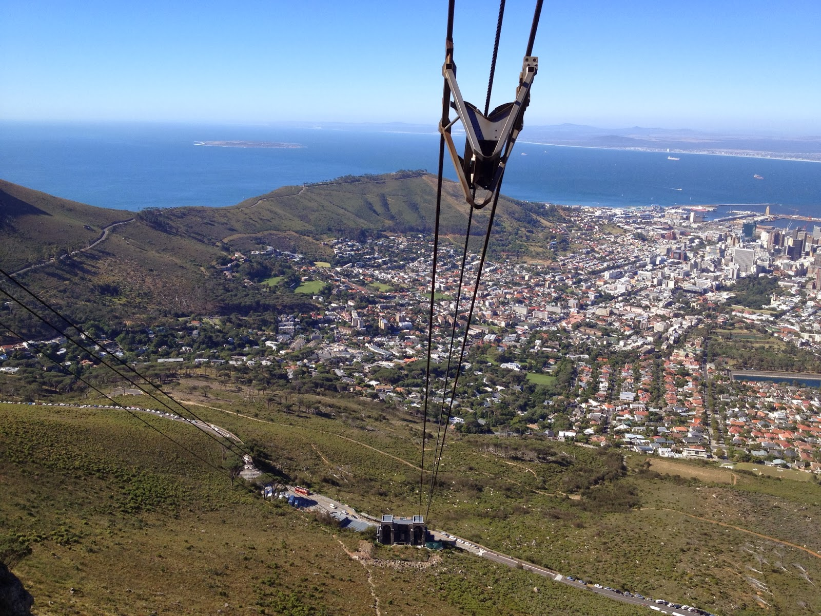 Cape Town - View from the gondola heading up to Table Mountain