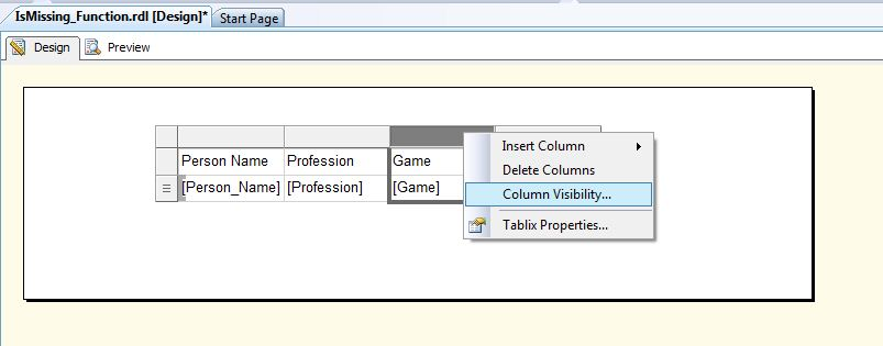 All about SQLServer: SSRS - IsMissing - Visibility Function
