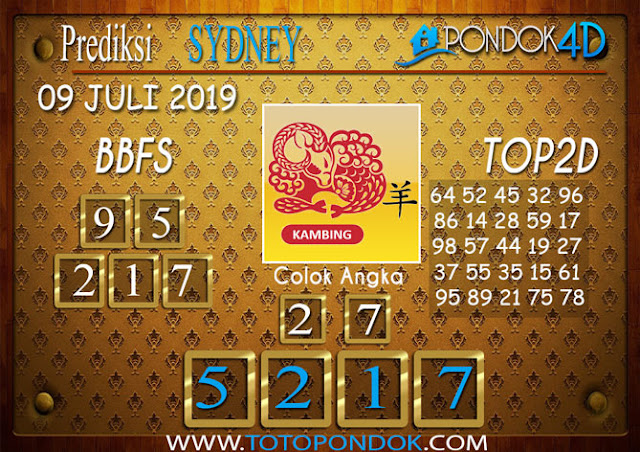 Prediksi Togel SYDNEY PONDOK4D 09 JULI 2019