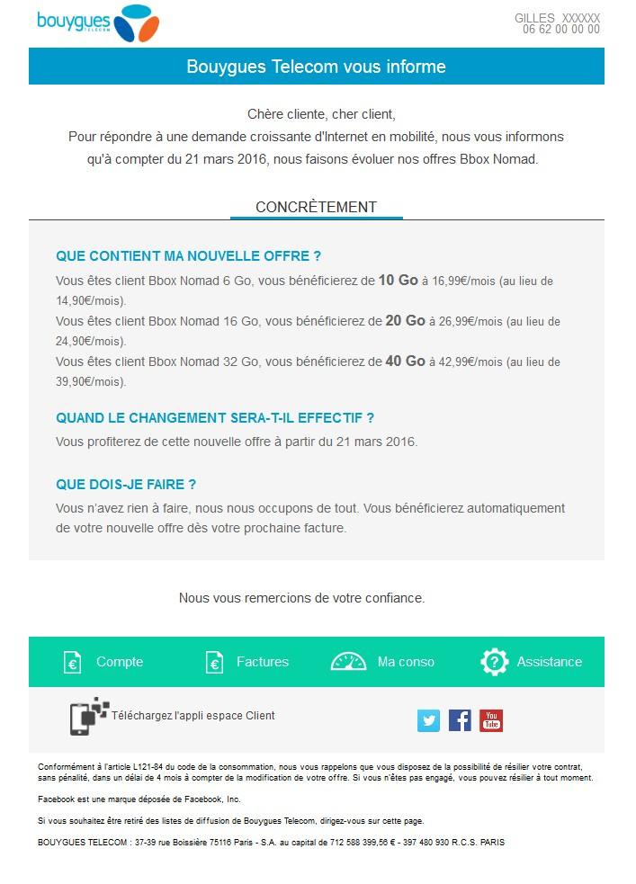 Modification Tarifaire gamme BBox nomad chez Bouygues Telecom
