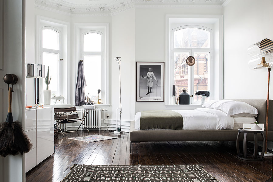black and white bedroom design, scandinavian interior, carpet,