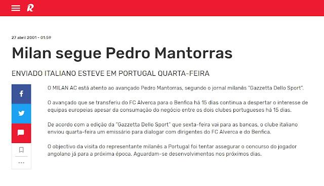 Record Pedro Mantorras Milan