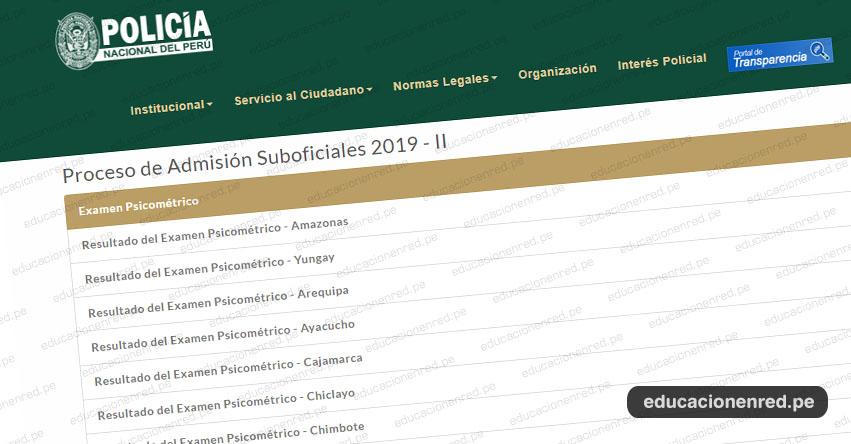 Resultados EESTP PNP 2019 (Martes 10 Diciembre) Reporte Oficial Examen Psicométrico - Examen de Admisión - Escuela de Sub Oficiales de la Policía Nacional del Perú - www.pnp.gob.pe