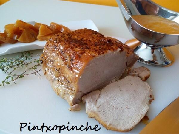 lomo de cerdo, carne, fruta, piña, tamari, soja
