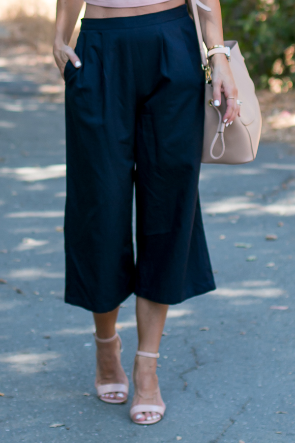navy blue culotte pants