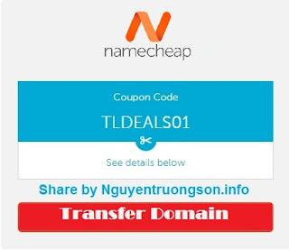 Namecheap Coupon 2019 - Mã giảm giá Namecheap để Transfer Domain