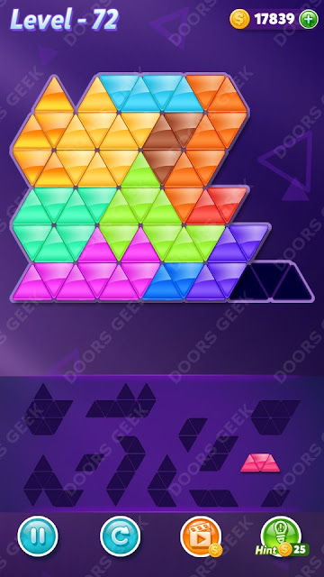 Block! Triangle Puzzle 12 Mania Level 72 Solution, Cheats, Walkthrough for Android, iPhone, iPad and iPod