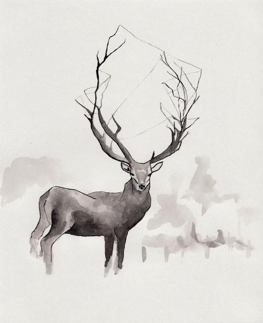 Mariko: Deer/ ORIGINAL Ink Illustration By Mariko