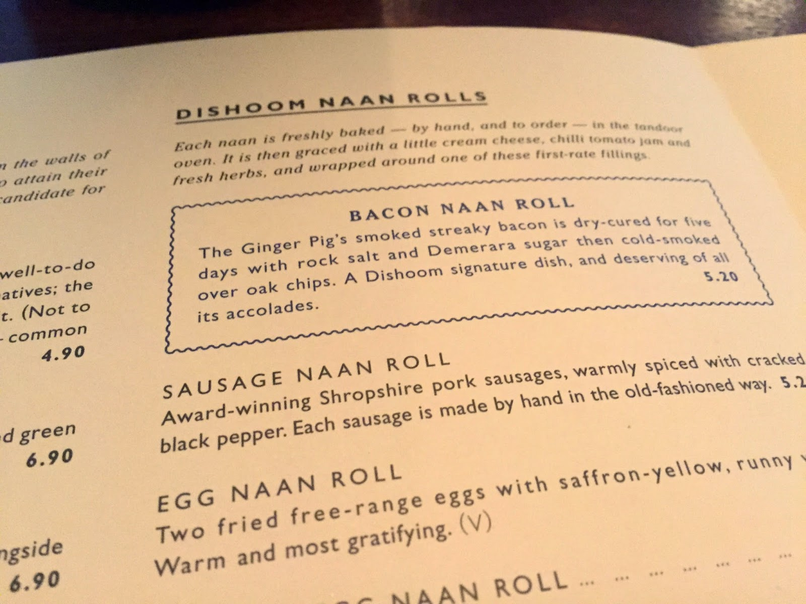 Dishoom Breakfast Menu