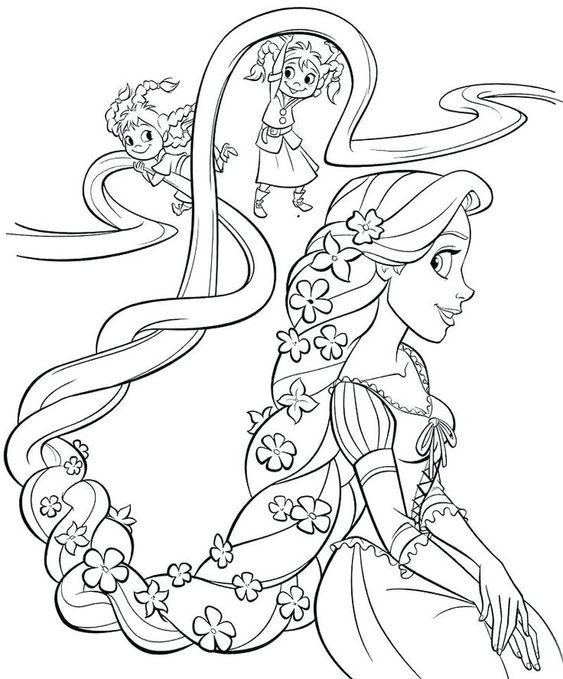 Tranh tô màu nàng công chúa tóc mây tết tóc