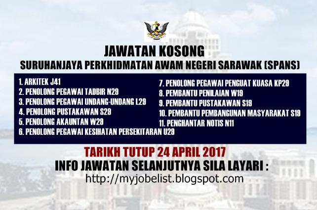 Jawatan Kosong Suruhanjaya Perkhidmatan Awam Negeri Sarawak (SPANS) 2017