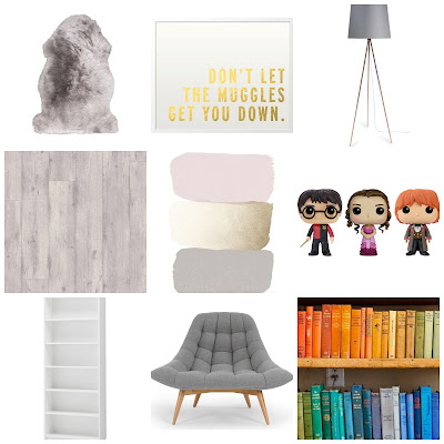 a collage of things I would like in my reading room