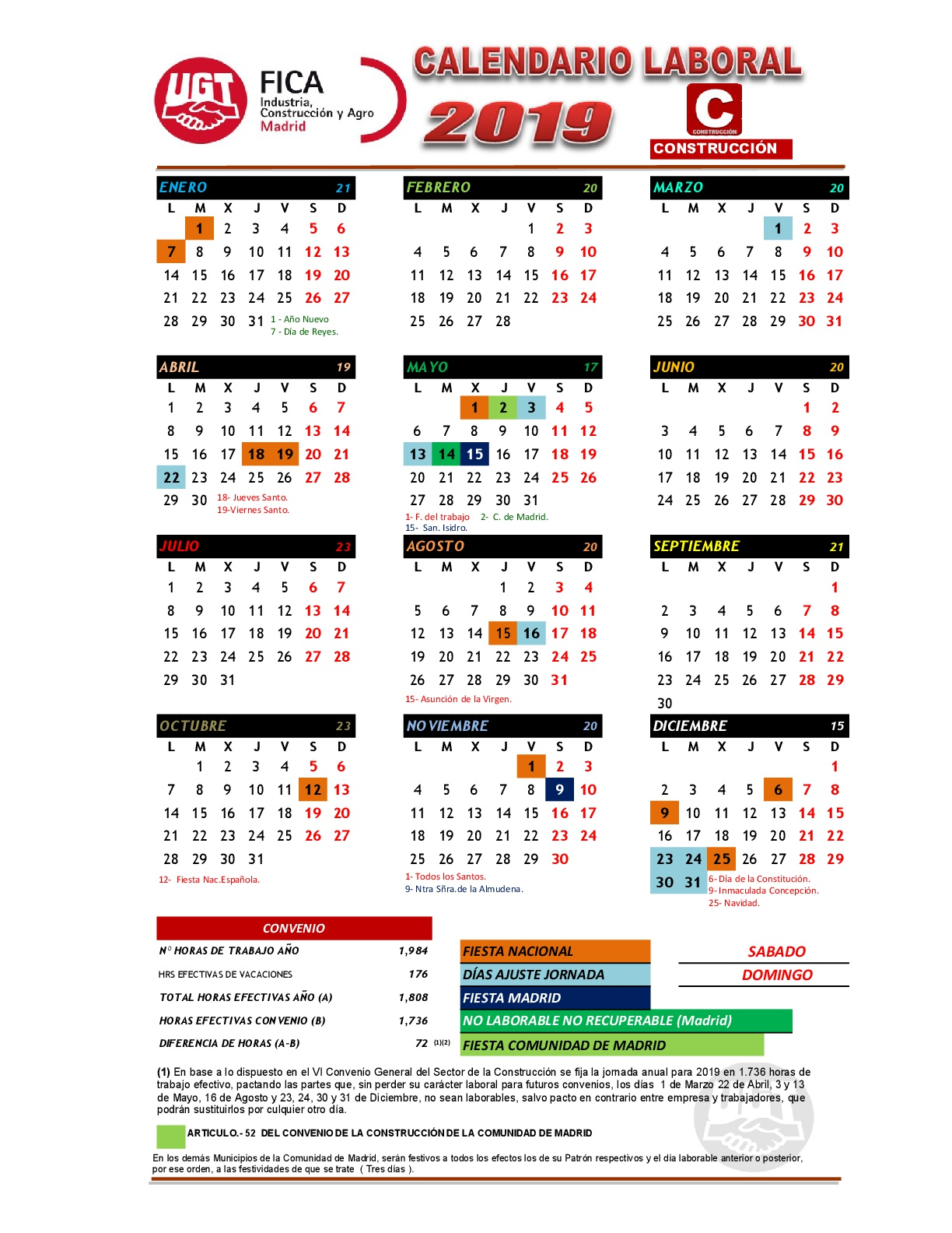 Calendario Laboral Pontevedra 2019.Comite Acciona Centro Calendario Laboral 2019 Construccion Madrid