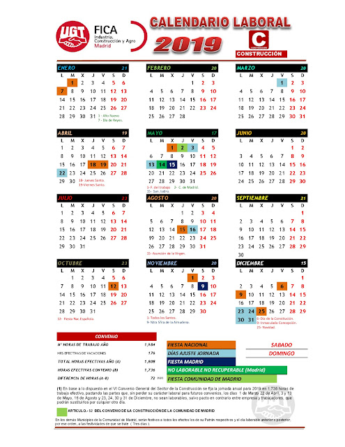Calendario Laboral Construccion 2020.Comite Acciona Centro