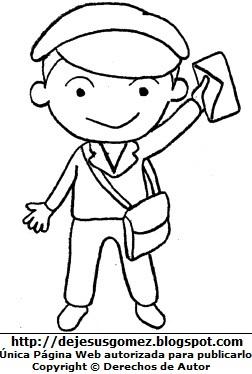 Dibujo de un trabajador cartero para colorear pintar imprimir recortar y pegar. Dibujo del Trabajador cartero hecho por Jesus Gómez