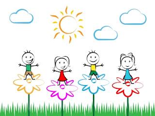 Desenho-de-criancas-felizes-e-flores