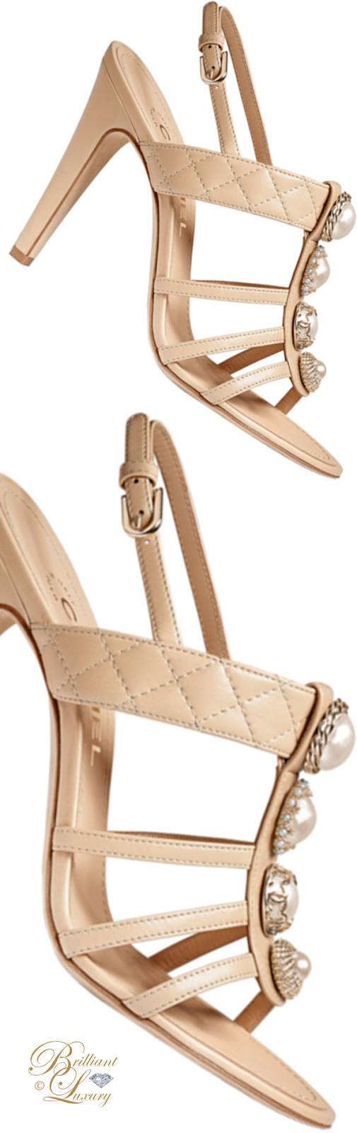 Brilliant Luxury ♦ Chanel lambskin sandals in gold