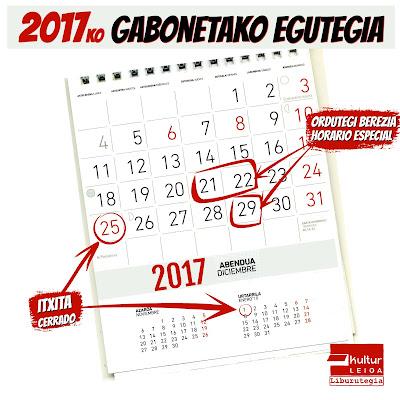 2017ko gabonetarako ordutegi berezia Leioako liburutegian