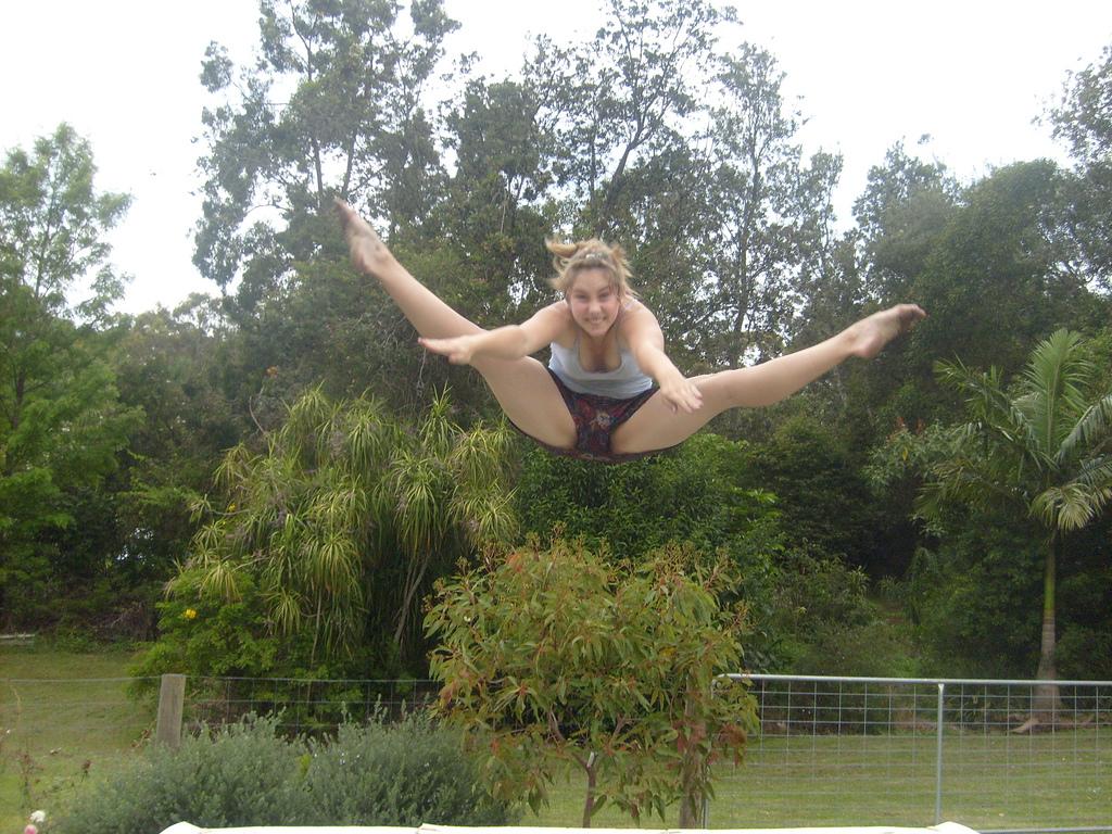 Nude women on trampolene think