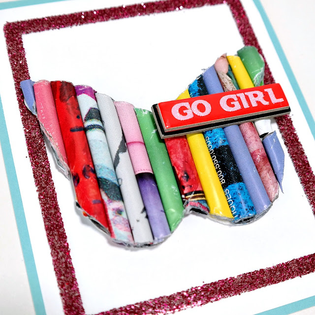 Go Girl Rolled Magazine Butterfly Card by Dana Tatar for Scrapbook Adhesives by 3L