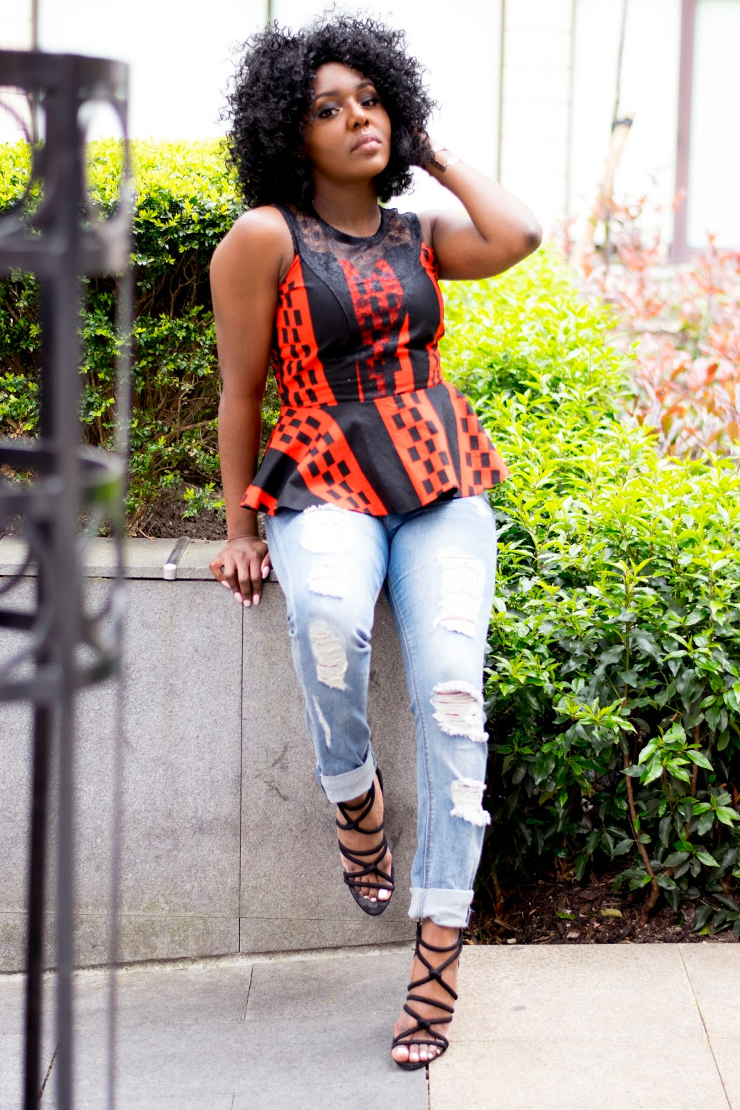 Peplum detailed ankara top