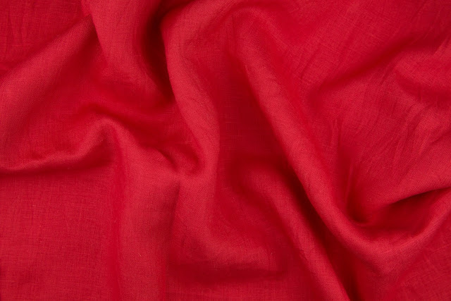 English Red Handkerchief Linen Fabric
