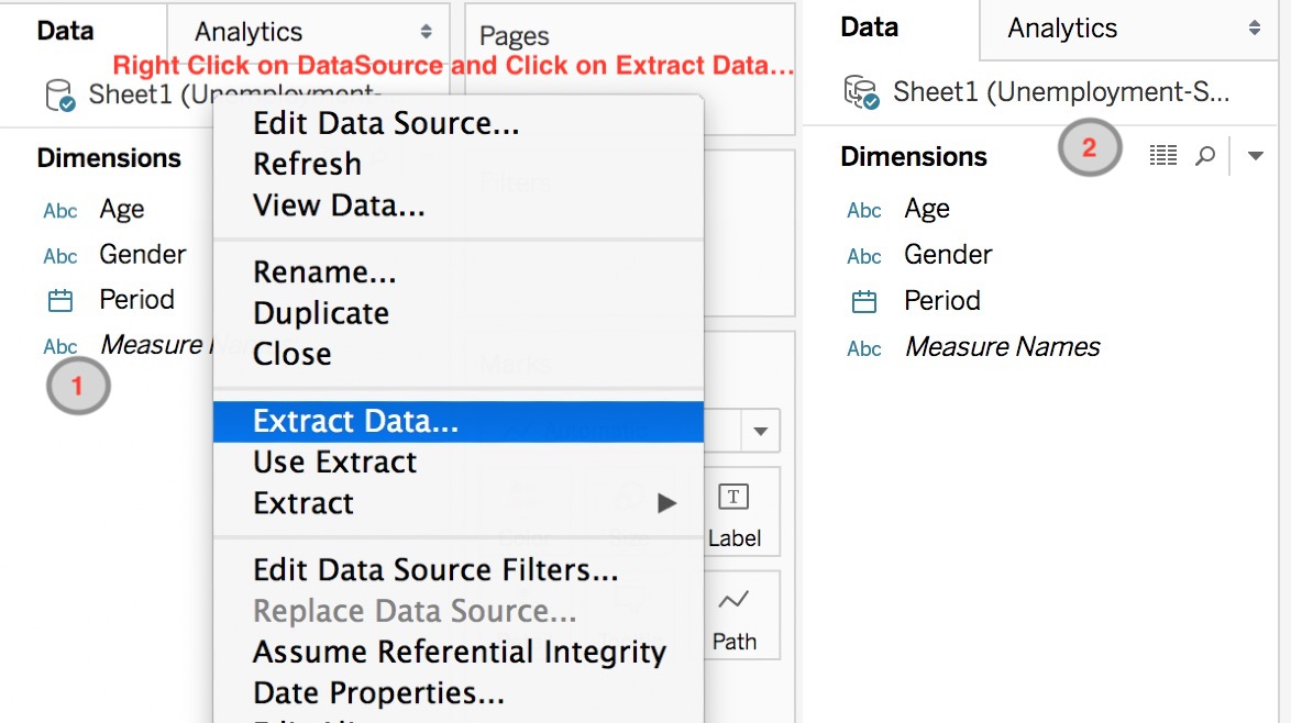 Tableau : Extract Data and Filter - How to create filter and