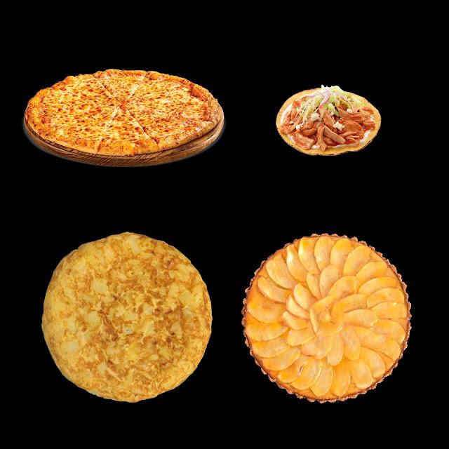 pizza, tortitas mejicanas, tortilla de patatas, tarta de manzana