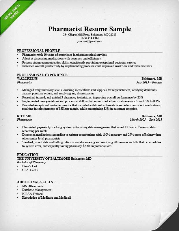 Sample Of Pharmacy Technician Resume Sample Resumes