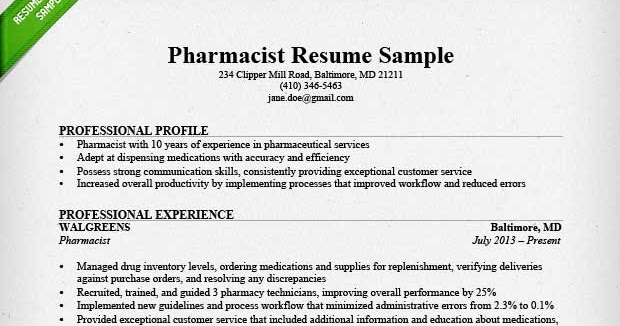 Sample Of Pharmacy Technician Resume | Sample Resumes