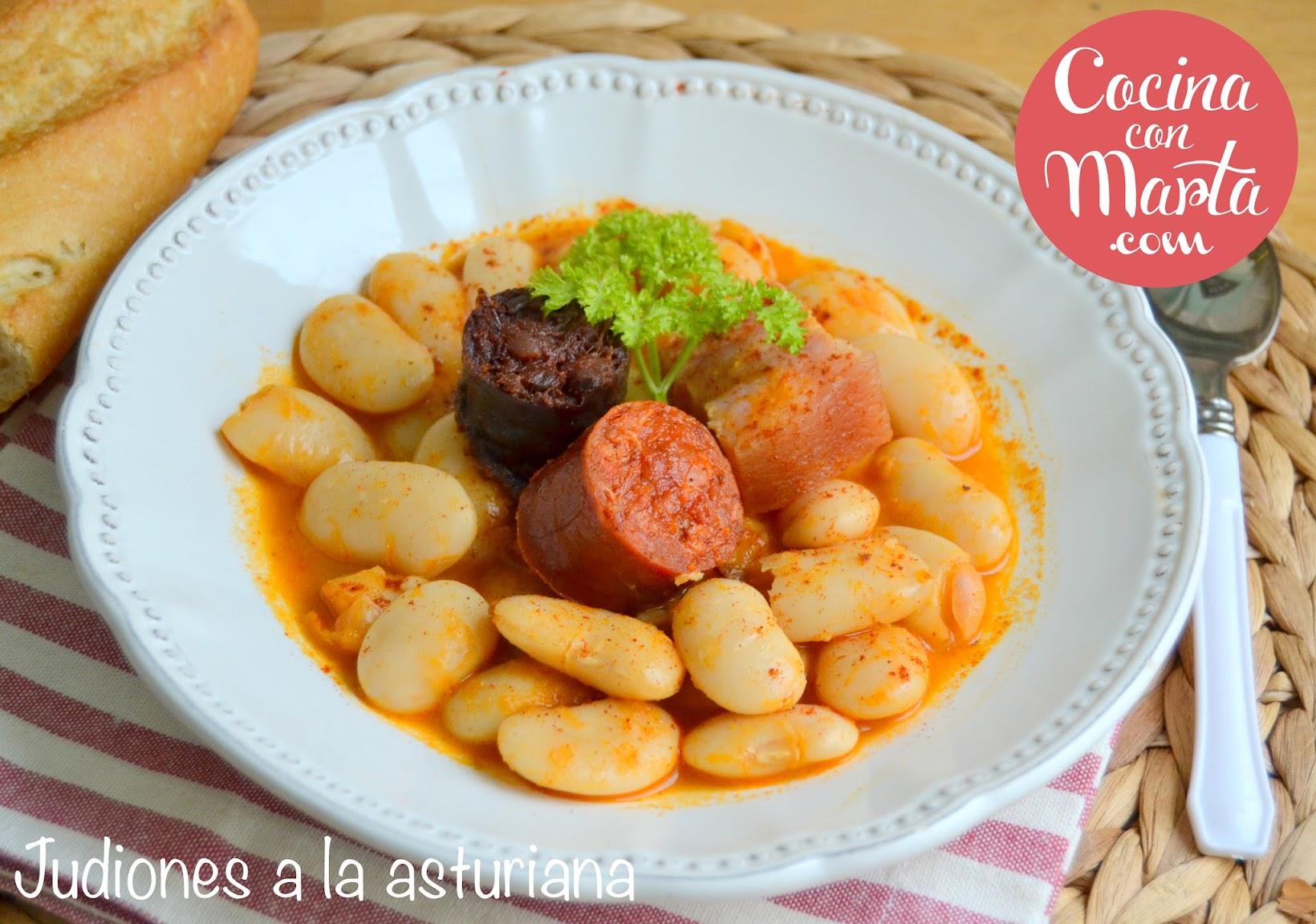 Fabes a la asturiana, fabes, judiones, chorizo y morcilla asturiana, panceta, potaje, platos de cuchara, receta casera, cocina con marta