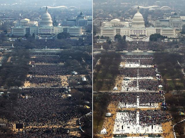 Foto Inu Buktikan Perbendaan Antara Inagurasi Trump dan Obama
