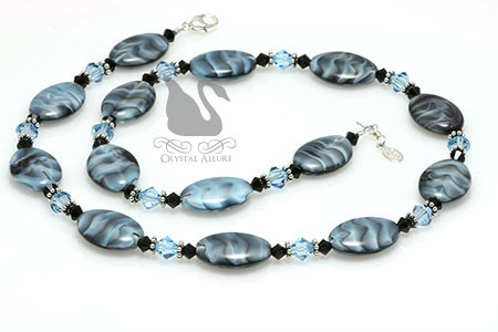 Czech Aqua Blue Black Swirl Crystal Beaded Necklace (N111)