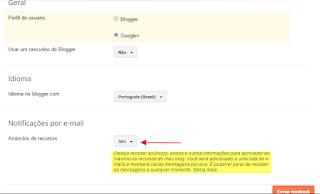 Configurações blogger