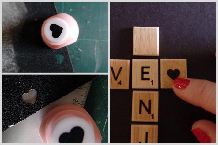 Cuadro con letras de scrabble formando palabras. Paso a paso post DIY by Stylistinaction. Corazón de papel de lija cortado con los punch de los chicos.