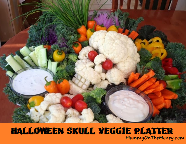 halloween veggie platter cauliflower skull