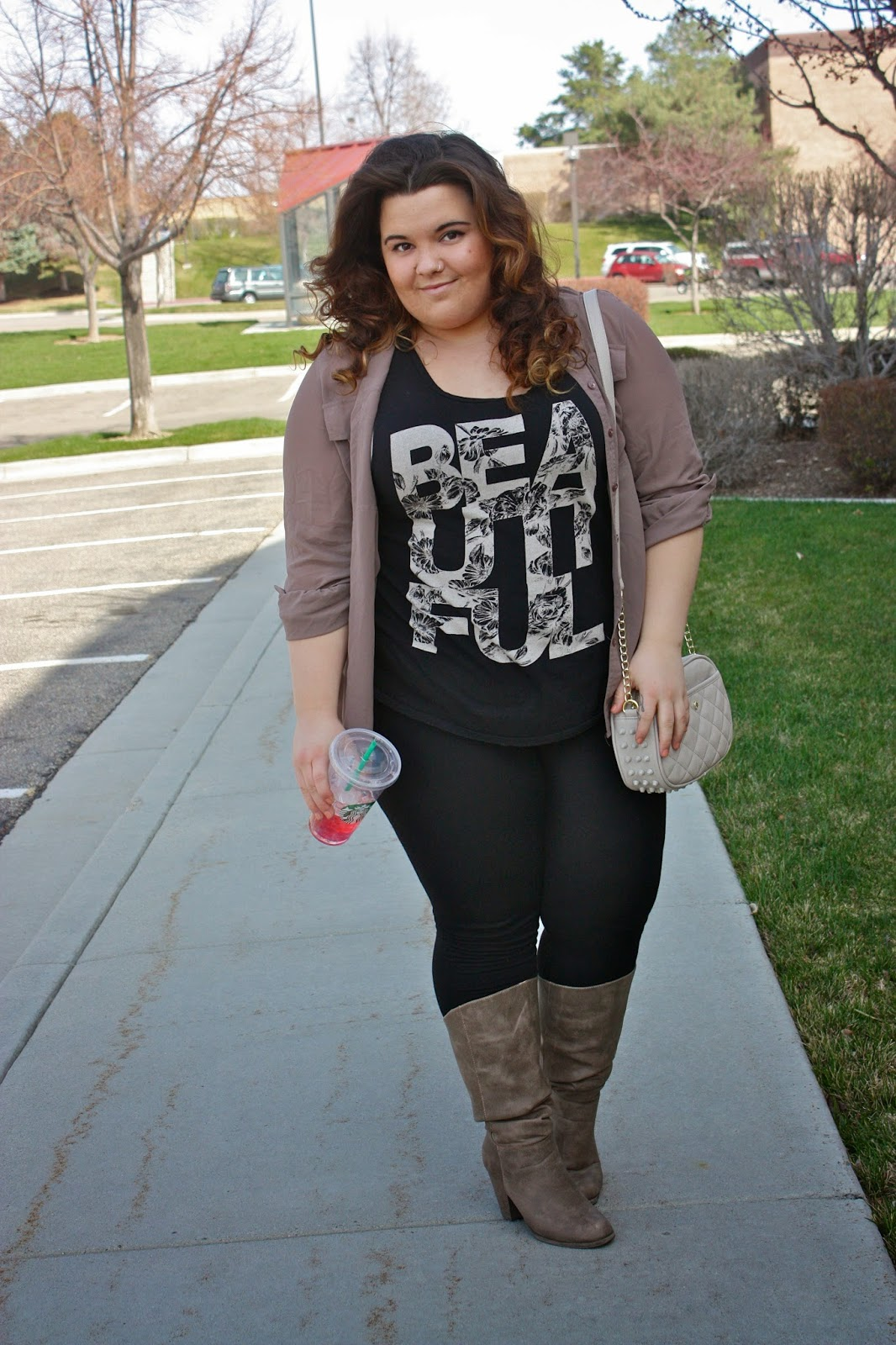natalie craig, passion tea, starbucks, plus size fashion blogger, plus size, fashion blogger, natalie in the city, steve madden, leggings, over the shoulder, clutch, nude, spikes, studs, forever 21, heels, boots, chiffon, button up, beautiful, spring fashion 2014