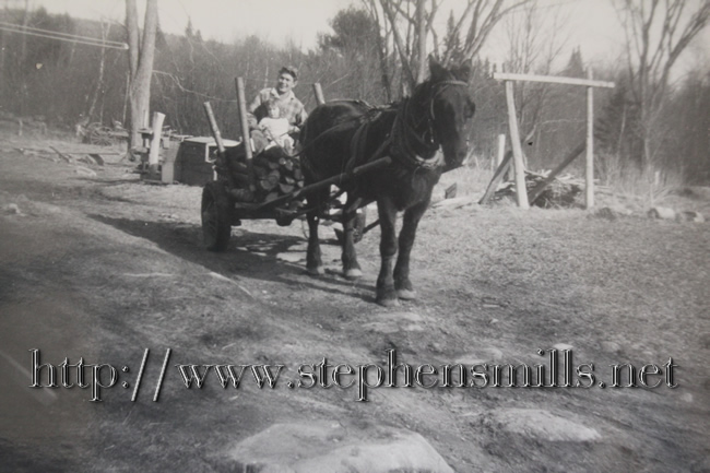 Walter Scott Emmons with Queenie the horse at the Captain Samuel Stephens - Bacon Homestead around 1948.