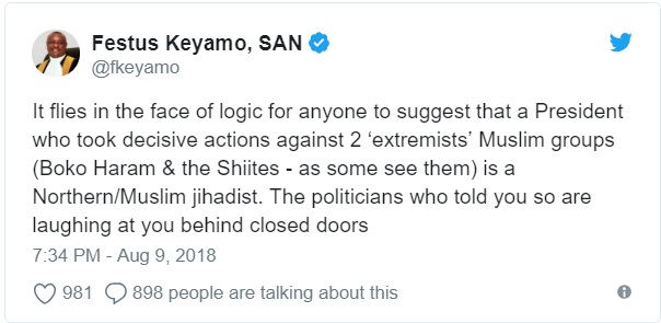 Buhari was never a northern-Muslim jihadist; those who thought otherwise were scammed - Keyamo