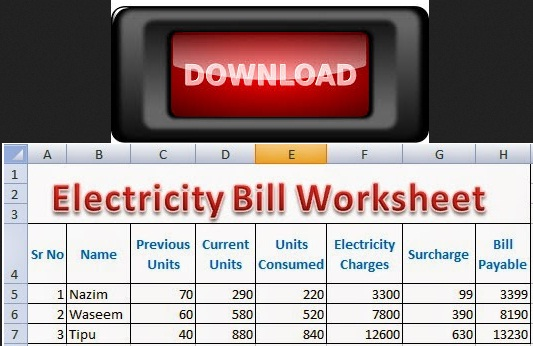 Download Excel Electricity Bill Calculation Worksheet Free