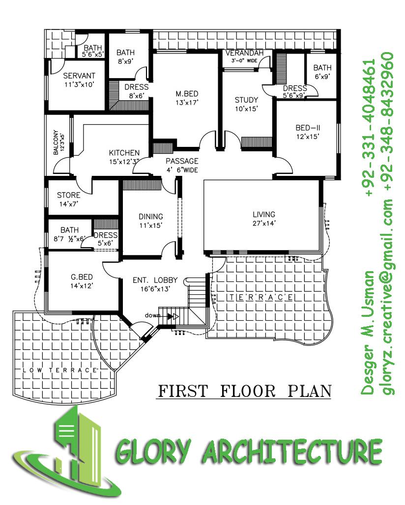 Glory Architecture 25x50 House Elevation Islamabad: 70x100 House Plan, 1.5 Kanal House Plan, 30 Marla House