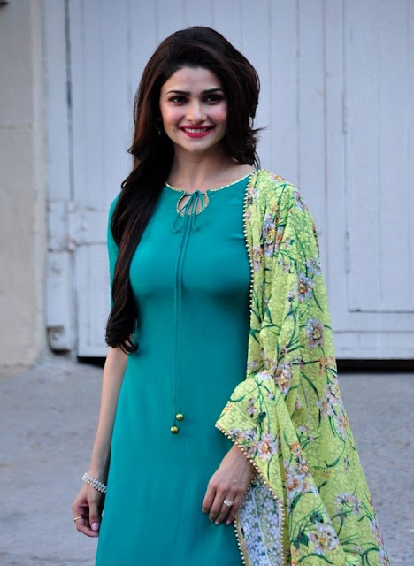 Prachi Desai in Simple Green Salwar Kameez