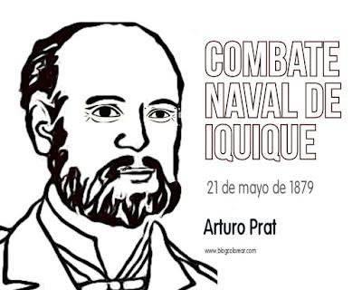Combate Naval de Iquique 1879 para niños, Arturo Prat colorear