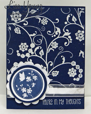Stampin' Up! Serene Silhouettes stamp set. Flowering Flourishes stamp set. Navy and White card. Handmade sympathy card by Lisa Young, Add Ink and Stamp