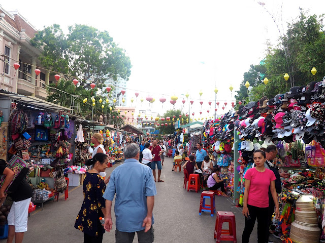 Market stalls and lanterns in Nha Trang, Vietnam