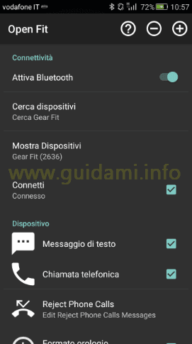 App Android Open Fit accoppiare a Gear Fit