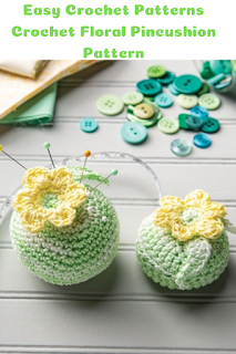 Crochet Pincushion patterns with a floral motif